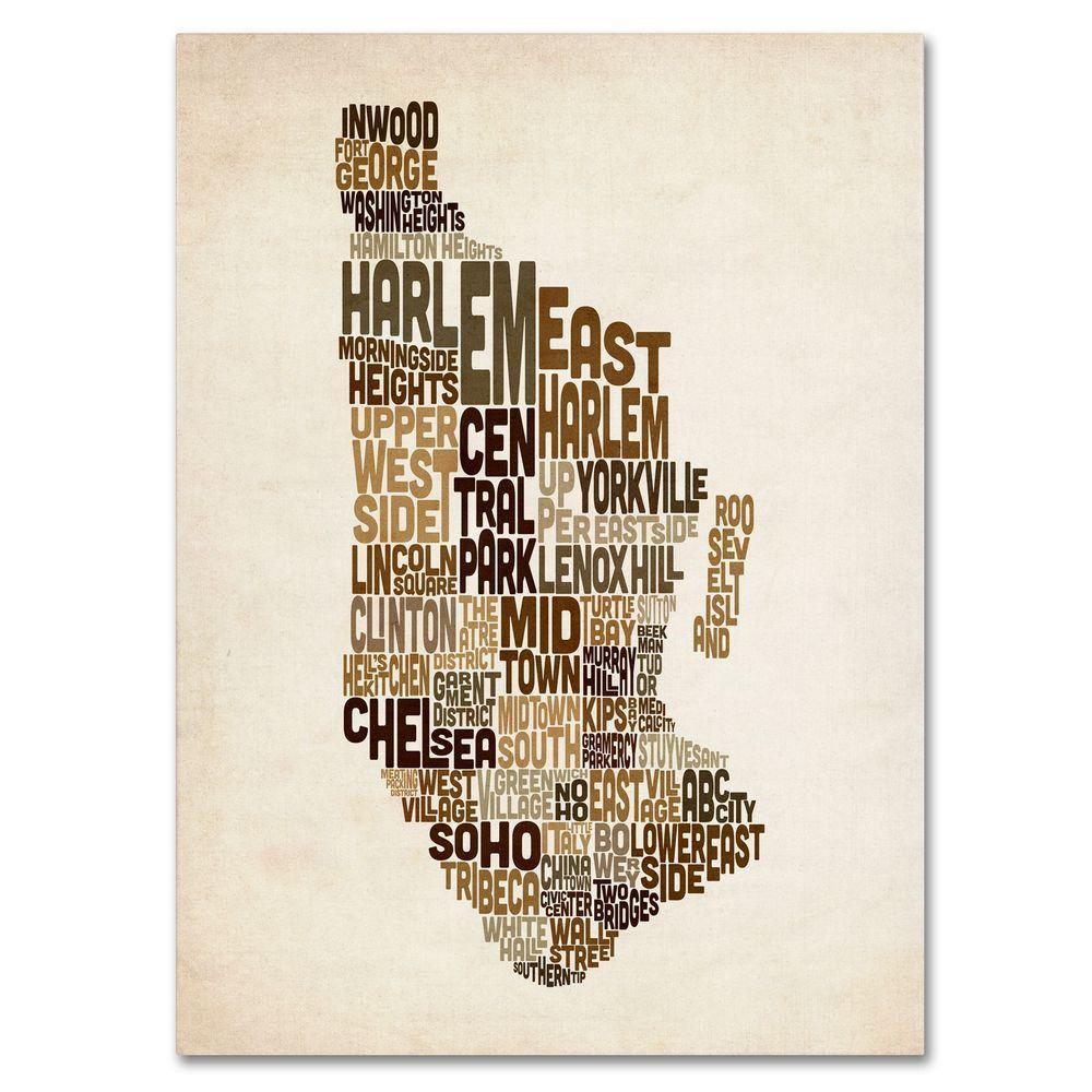 null 16 in. x 24 in. Manhattan Text Map Canvas Art
