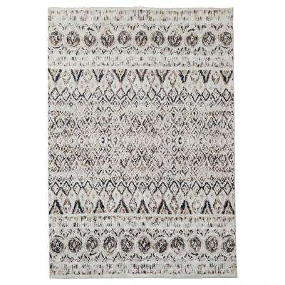 Tribal Brown 5 ft. x 8 ft. Distressed Indoor Area Rug