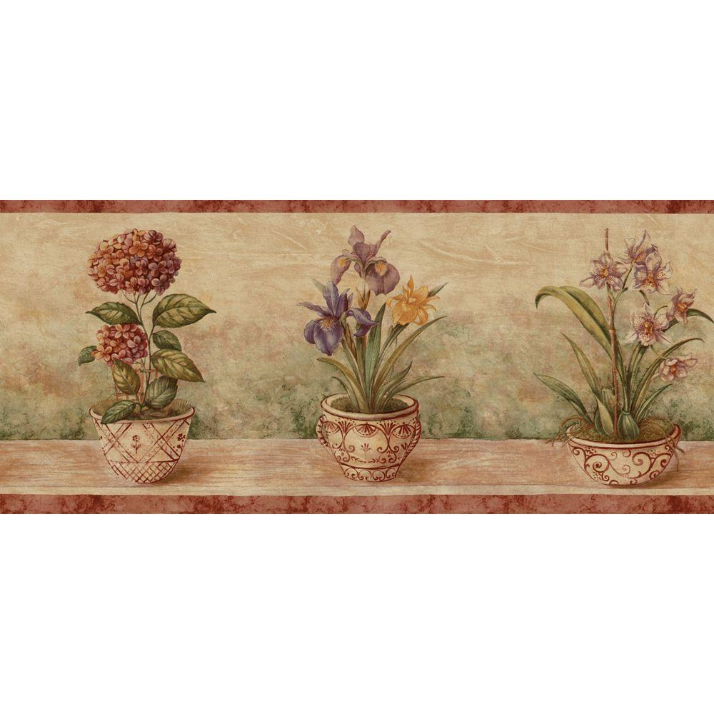 The Wallpaper Company 9 in. x 15 ft. Terracotta Potted Floral Border-DISCONTINUED