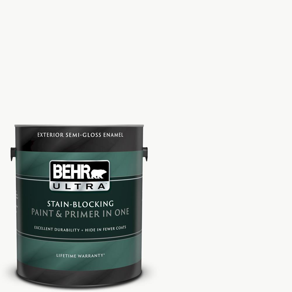 BEHRULTRA BEHR ULTRA 1 gal. Ultra Pure White Semi-Gloss Enamel Exterior Paint and Primer in One