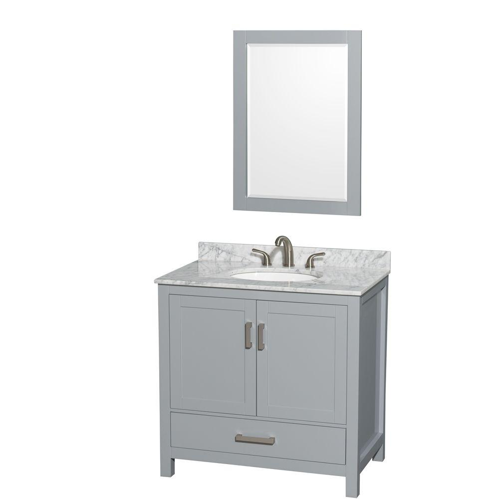 Wyndham Collection Sheffield 36 In W X 22 D Vanity Gray With