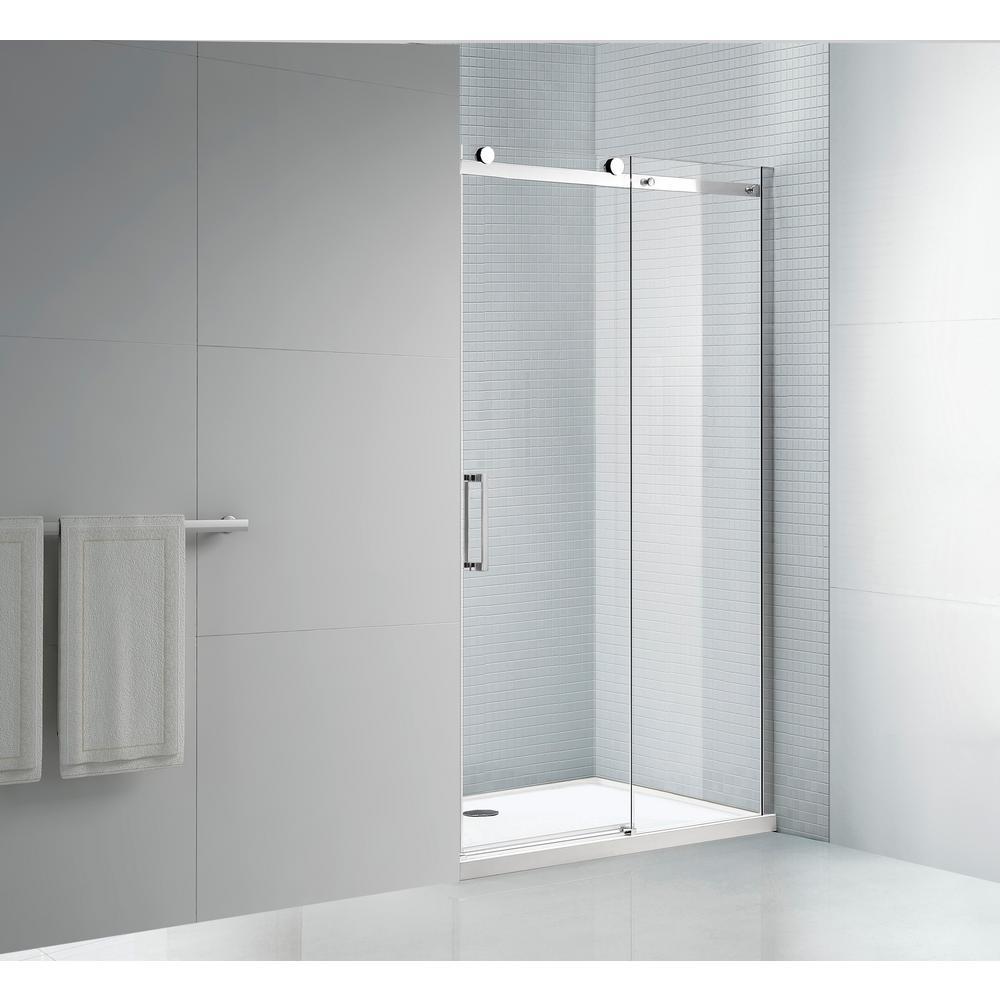Tidy 60 in. x 78 in. Frameless Sliding Shower Door in Chrome with 60 in. x 36 in. Acrylic Shower Base in White