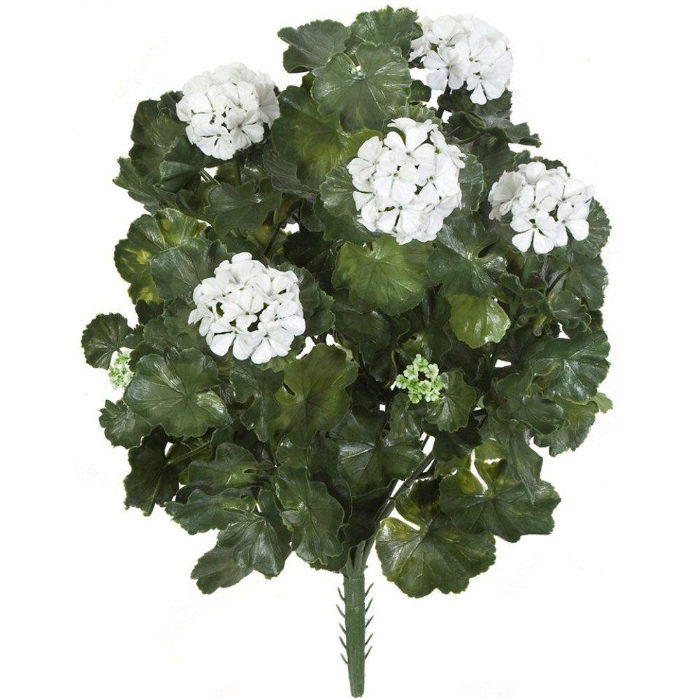 26 in. Artificial Fade Resistant Plastic Outdoor White Flowers Geranium Bush