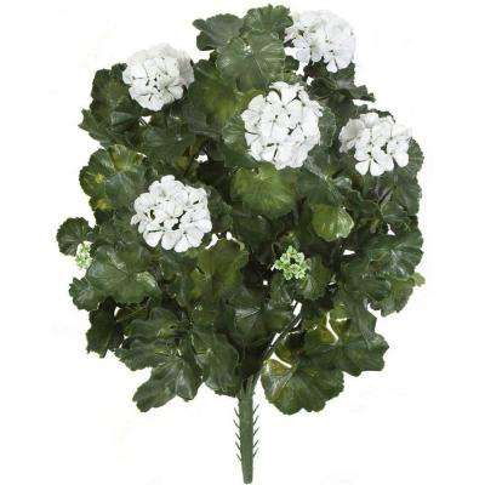 26 in. Artificial Fade Resistant Plastic Outdoor White Flowers Geranium Bush