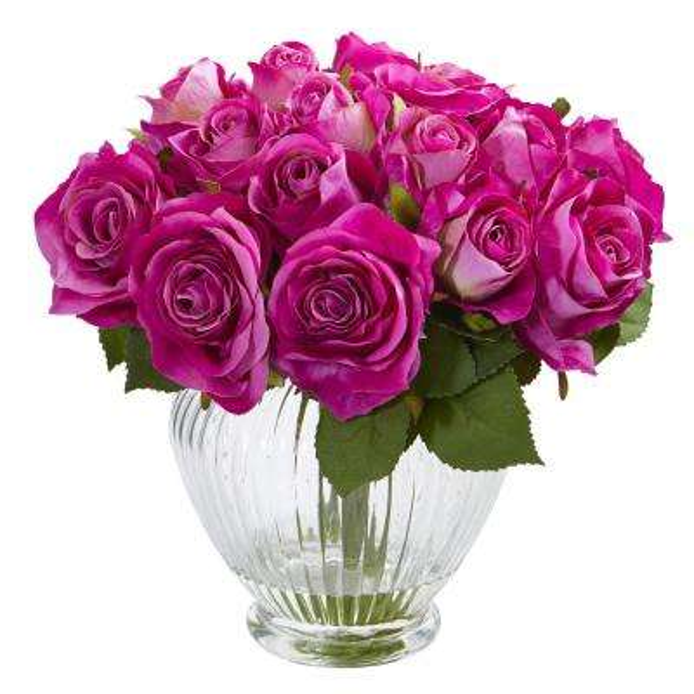 9 in. High Purple Roses Artificial Floral Arrangement in Elegant Glass Vase