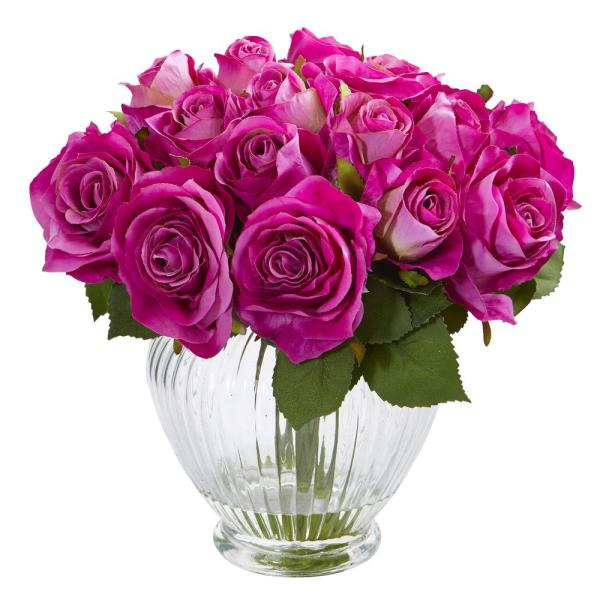 Nearly Natural 9 in. High Purple Roses Artificial Floral Arrangement in