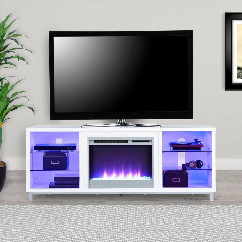 70 In Cleavland White Tv Stand With Fireplace Hd65519 The Home Depot