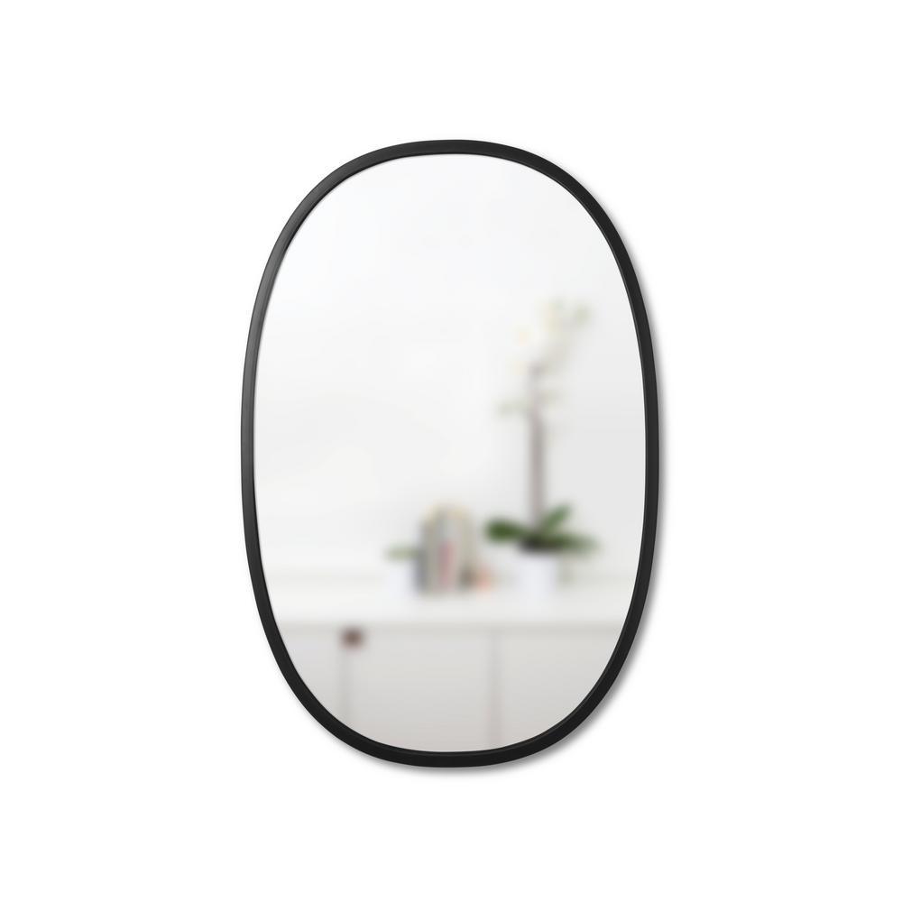 24 in. x 36 in. Black Oval Hub Mirror