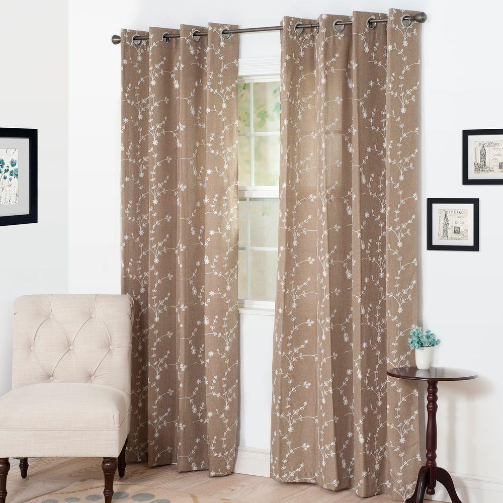 Lavish Home Semi Opaque Inas Taupe Polyester Grommet Curtain