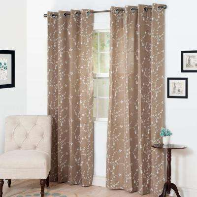 Semi-Opaque Inas Taupe Polyester Grommet Curtain - 54 in. W x 95 in. L