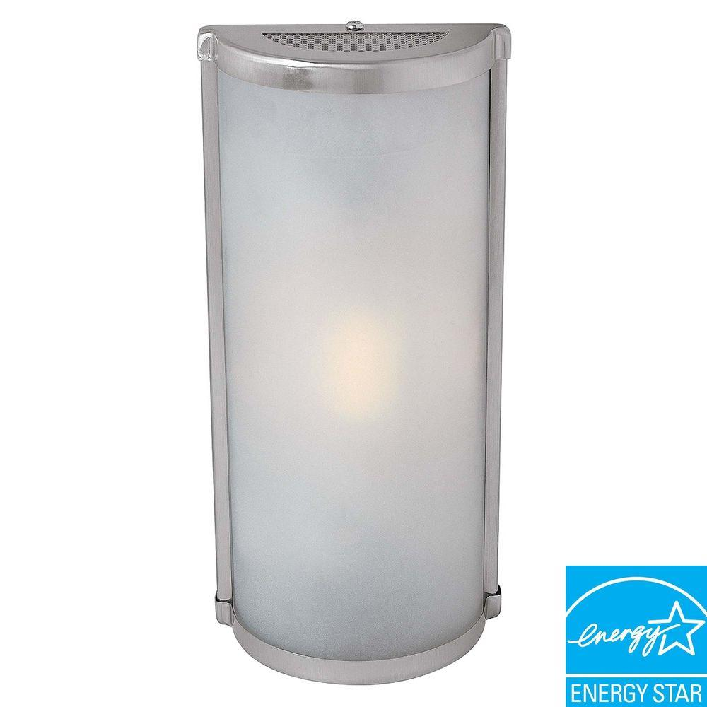 Access Lighting 1-Light Brushed Steel Wall Sconce with Frosted Glass Shade-DISCONTINUED