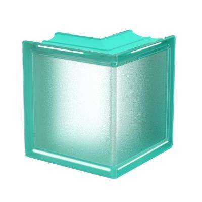 Mint 5.75 in. x 5.75 in. x 3.15 in. Classic Turquoise Corner Glass Block