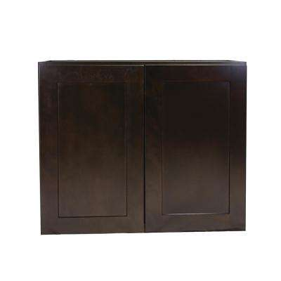Brookings Plywood Assembled Shaker 30x36x12 in. 2-Door Wall Kitchen Cabinet in Espresso