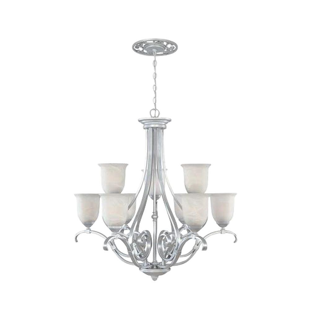 Designers Fountain Kavala Collection 9-Light Matte Pewter Hanging Chandelier