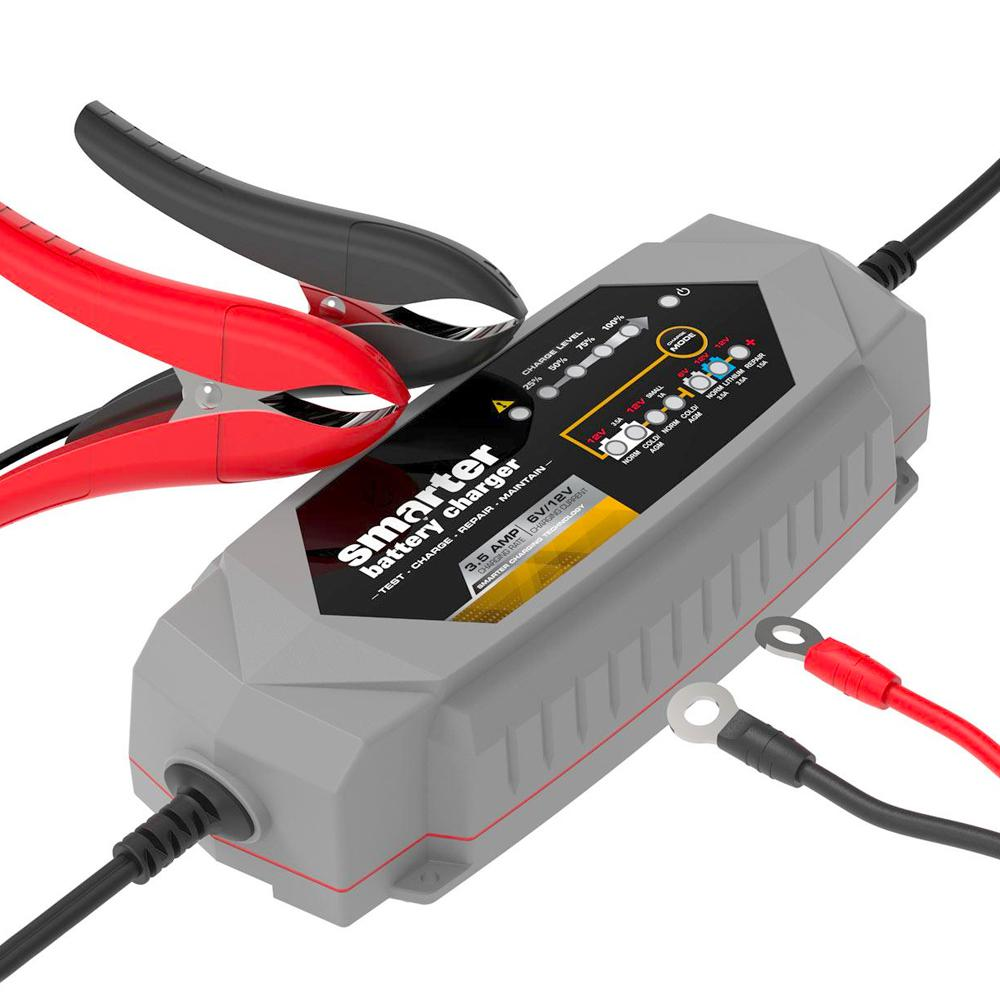 Smartech Products Smartech Products 3.5 Amp 6-Volt/12-Volt Smart Automotive Battery Charger, Maintainer, Repairer, Tester with Advanced Desulphation Process