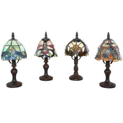 12 in. Multi-Colored Stained Glass Accent Lamps Set of 4 Family Favorites