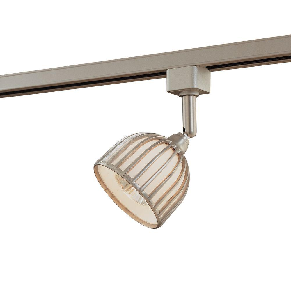 Hampton Bay Track Lighting Installation: Hampton Bay Linear Brushed Steel Metal/Glass Shade Track