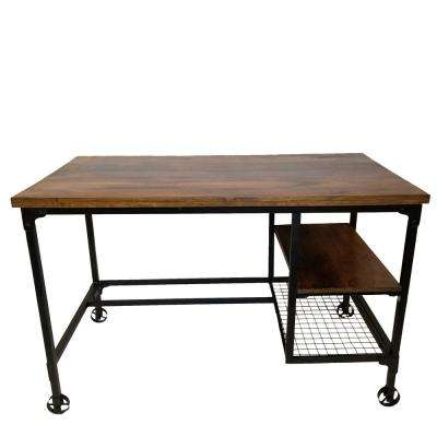 Brown Industrial Design Wooden Desk with 2-Bottom Shelves