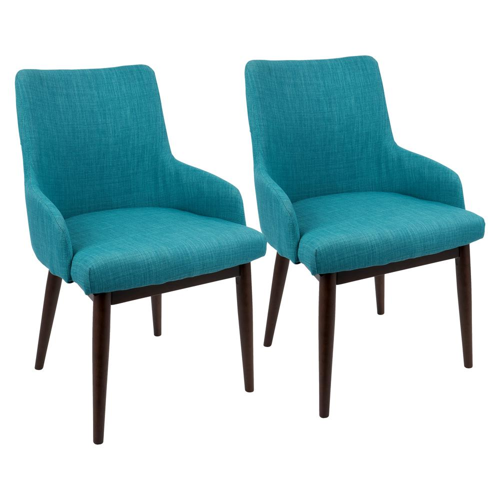 Lumisource Santiago Mid Century Walnut And Teal Modern Dining/Accent Cahir  (Set Of