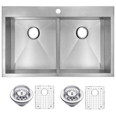 Drop-In Stainless Steel 33 in. 1 Hole Double Bowl Kitchen Sink with Strainer and Grid in Satin