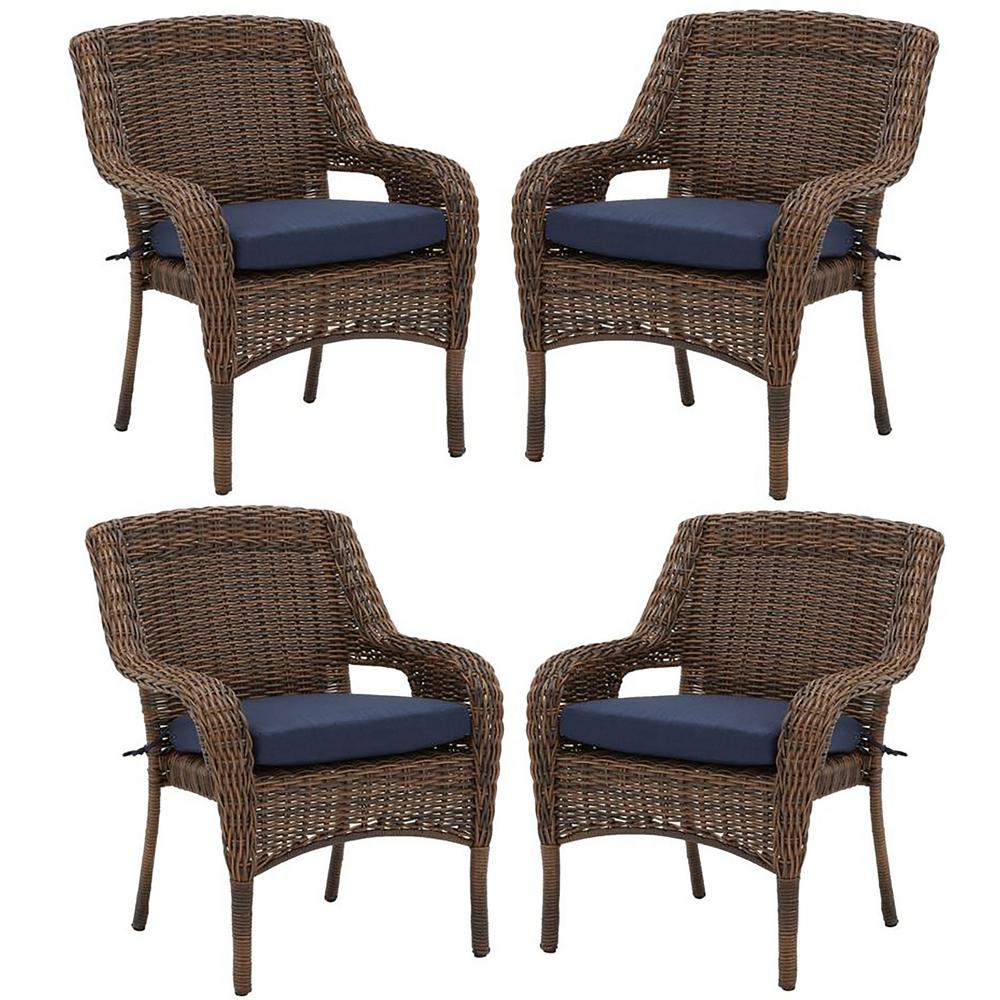 Hampton Bay Cambridge Brown Resin Wicker Outdoor Dining Chairs With Blue Cushions 4 Pack