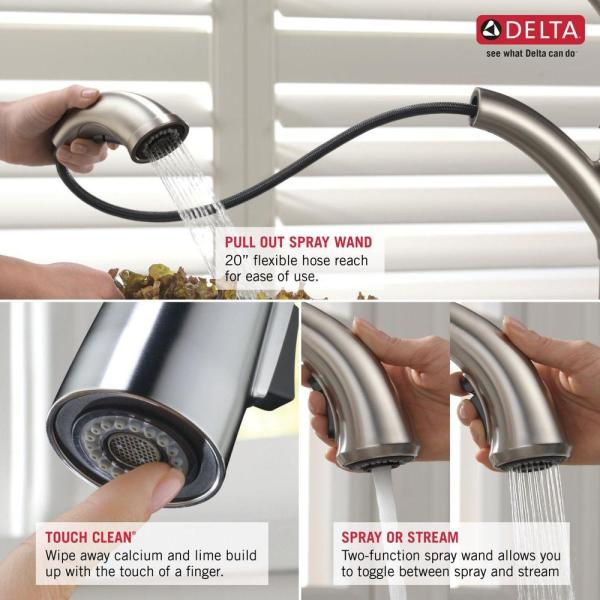 Delta Signature Single Handle Pull Out Sprayer Kitchen Faucet In Chrome 470 Dst The Home Depot