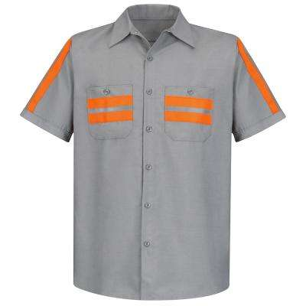 Men's Large Light Grey with Orange Visibility Trim Enhanced Visibility Shirt