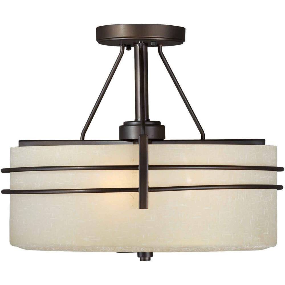 Ethan 3-Light Antique Bronze Semi-Flush Mount Light with Umber Linen Glass