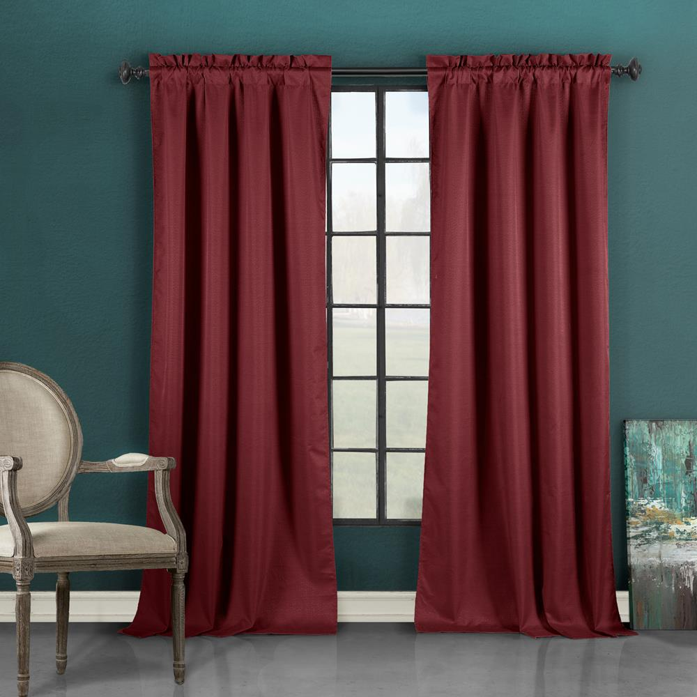 Duck River Liam 37 in. W x 96 in. L Polyester Window Panel in Burgundy