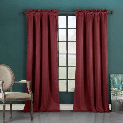 Liam 37 in. W x 96 in. L Polyester Window Panel in Burgundy