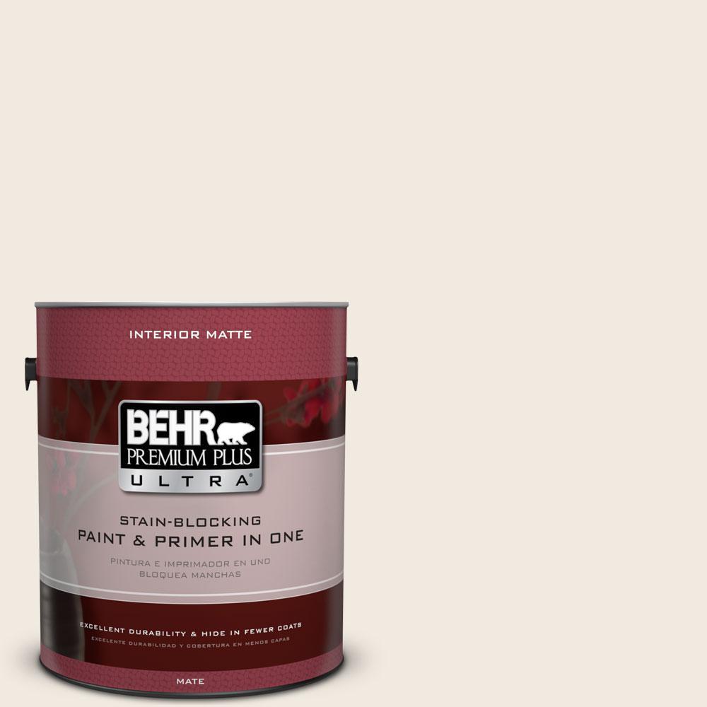 BEHR Premium Plus Ultra 1 gal. #ECC-50-2 Rustic Cream Flat/Matte Interior Paint