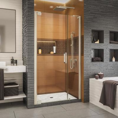 Elegance-LS 45-3/4 in. to 47-3/4 in. W x 72 in. H Frameless Pivot Shower Door in Brushed Nickel