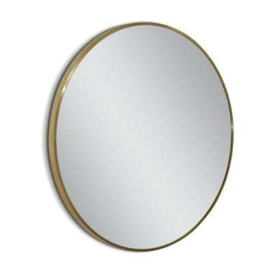 Spectrum 35 in. Metal Circle Wall Mirror in Gold