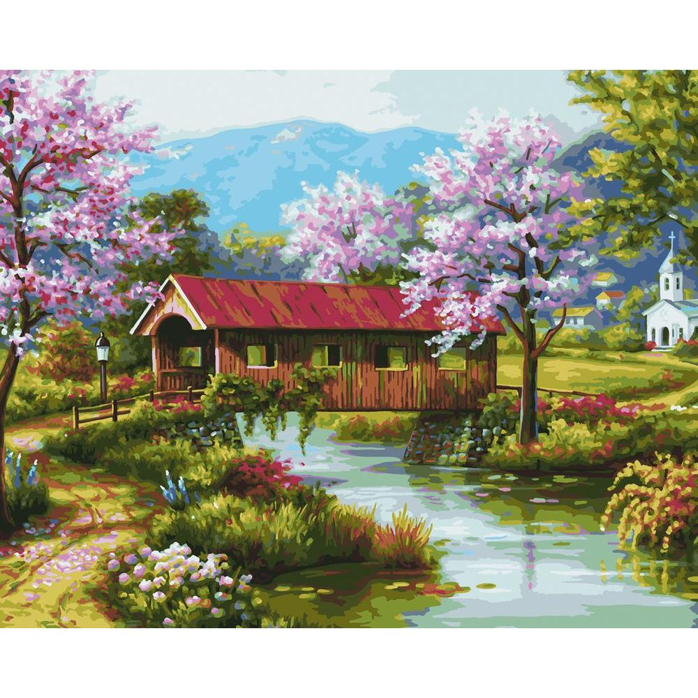 null 16 in. x 20 in. 24-Color Kit Covered Bridge Paint by Number-DISCONTINUED