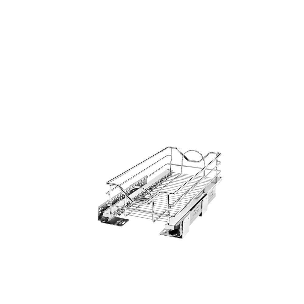 6 in. H x 11.31 in. W x 21.75 in. D Chrome Pull-Out Basket with Soft-Close Slides