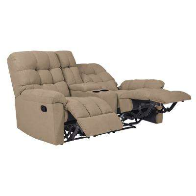 2-Seat Tufted Recliner Loveseat with Power Storage Console in Barley Tan Plush Low-Pile Velvet