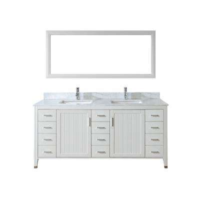 Jackie 72 in. Vanity in White with Marble Vanity Top in Carrara White and Mirror