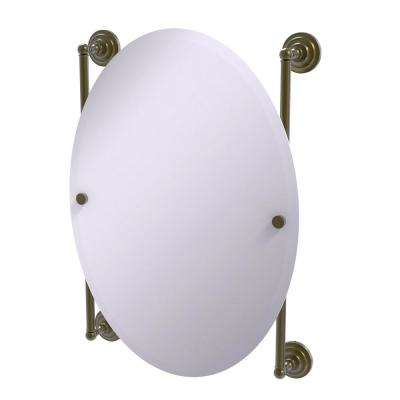 Que New Collection Oval Frameless Rail Mounted Mirror in Antique Brass
