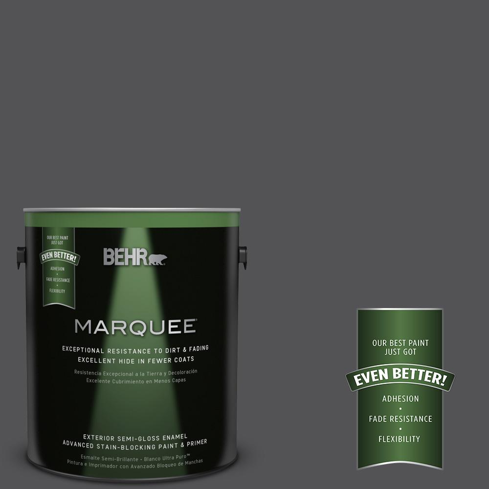 1-gal. #BXC-30 Black Space Semi-Gloss Enamel Exterior Paint