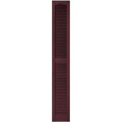 12 in. x 80 in. Louvered Vinyl Exterior Shutters Pair in #167 Bordeaux