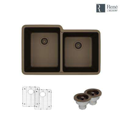 Undermount Composite Granite 32-1/2 in. Double Bowl Kitchen Sink in Umber