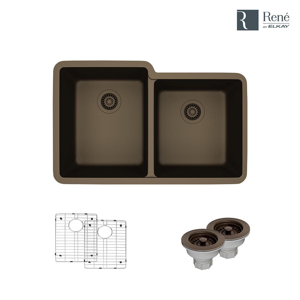 Undermount Composite Granite 32-1/2 in. Double Bowl Kitchen Sink in Umber