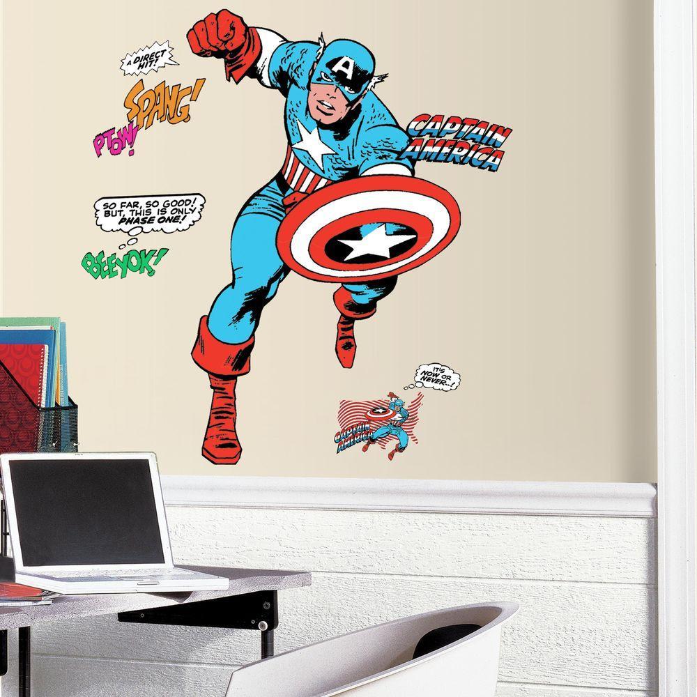 Great RoomMates 2.5 In. X 27 In. Classic Captain America Comic 23 Piece Peel
