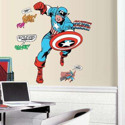 Attractive 2.5 In. X 27 In. Classic Captain America Comic 23 Piece Peel And