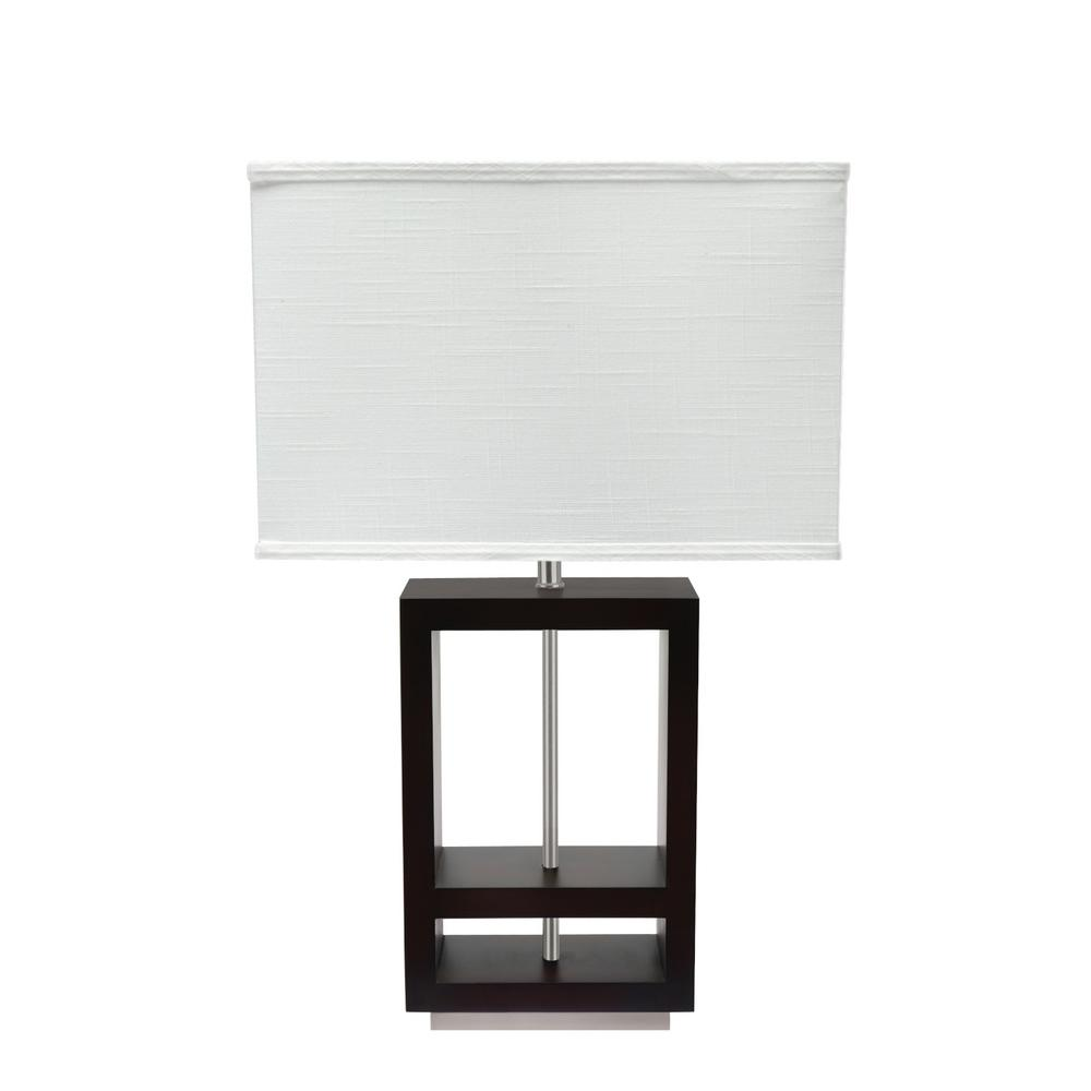 Aspen Creative Corporation 26 1 2 In Walnut Wood Table Lamp With Rectangle