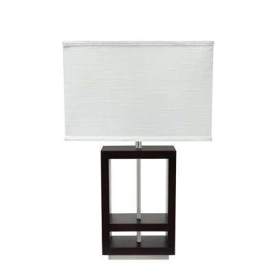 26-1/2 in. Walnut Wood Table Lamp with Rectangle Shaped Lamp Shade in Off White
