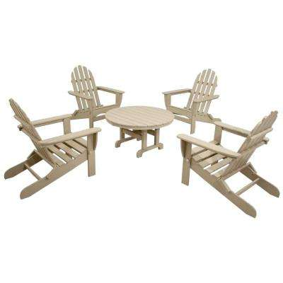 Classics Sand 5-Piece Folding Adirondack Patio Conversation Set