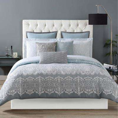 Ombre Lace Blue King Comforter with 2-Shams
