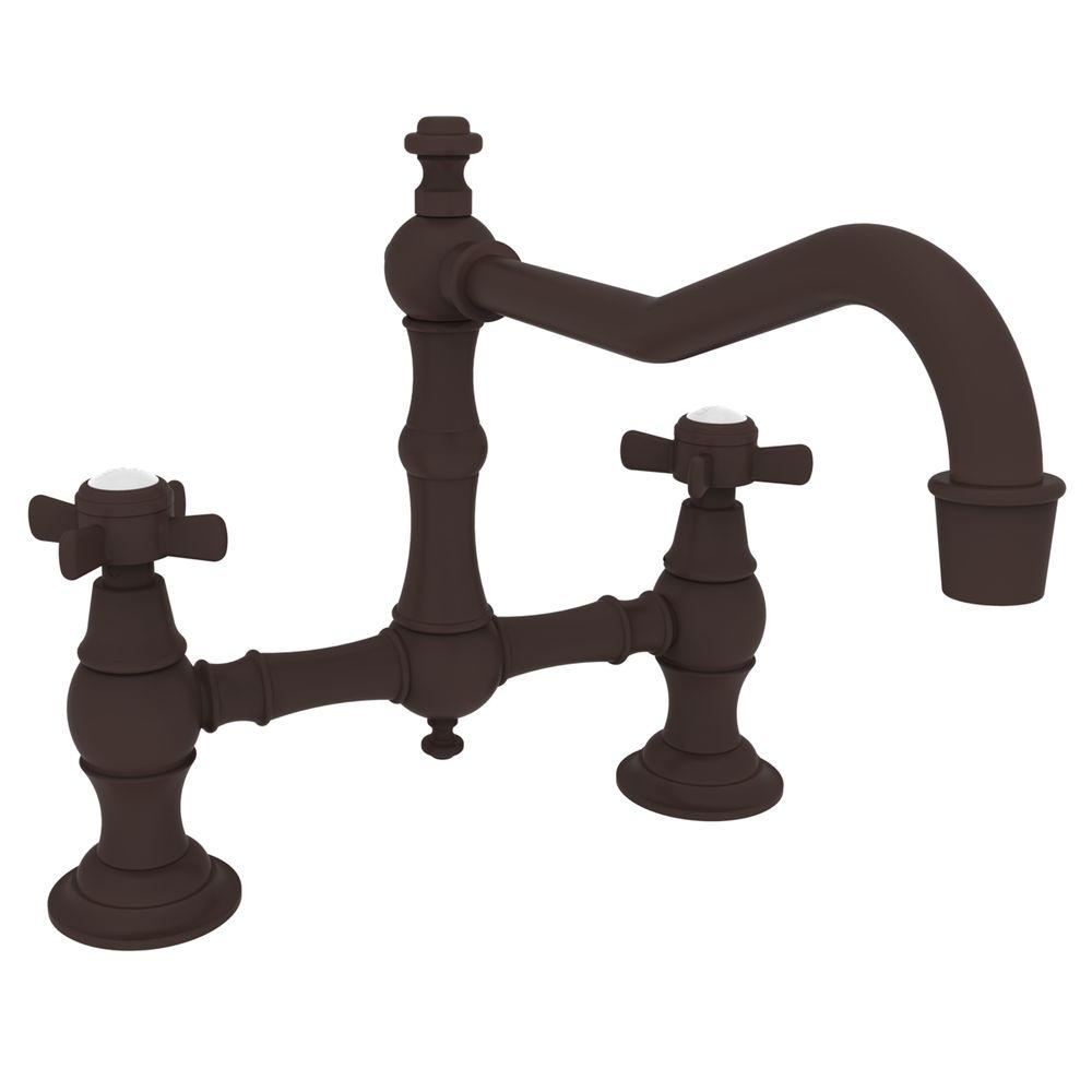 Newport Brass 12 in. 2-Handle Mid-Arc Bridge Kitchen Faucet in Oil Rubbed Bronze-DISCONTINUED