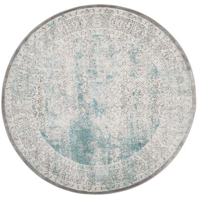 Passion Turquoise/Ivory 5 ft. 1 in. x 5 ft. 1 in. Round Area Rug